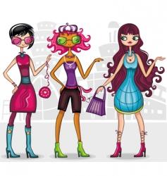 urban fashion girls series vector image vector image
