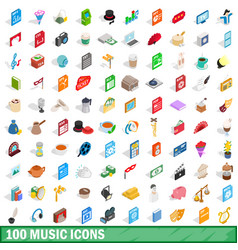 100 music icons set isometric 3d style vector image