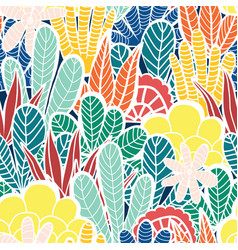 abstract plants collage seamless background vector image