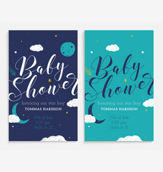 Baby shower set star boy and space theme vector