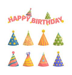 birthday cap celebration decorative symbols party vector image