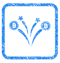 Bitcoin fireworks framed stamp vector