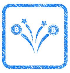 Bitcoin fireworks framed stamp vector