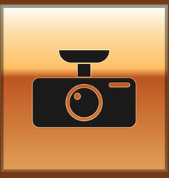 Black car dvr icon isolated on gold background vector