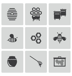 black honey icons set vector image