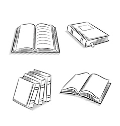Book and notebook sketch set vector