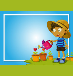 border template with boy watering flowers vector image