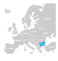 bulgaria marked by blue in grey political map of vector image