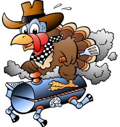 Cartoon of an thanksgiving turkey riding a bbq vector