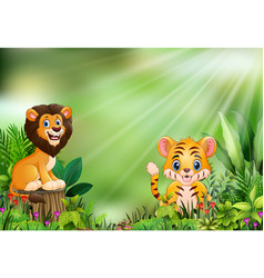 Cartoon of the nature scene with a lion standing o vector
