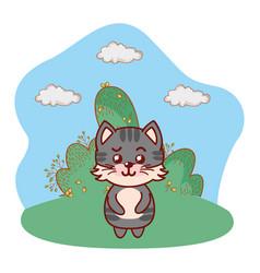 Cat in bushy lanscape cartoon vector