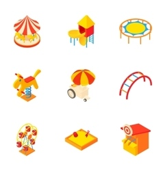 Children games icons set cartoon style vector image
