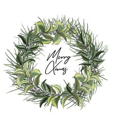 christmas door wreath with evergreen tree decor vector image