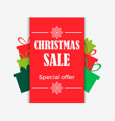 christmas sale banner with gift boxes special vector image