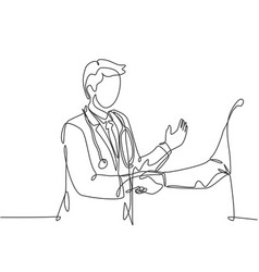 continuous line drawing young doctor shaking vector image