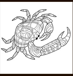 crab pattern coloring book page animal pattern vector image