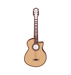 cute brown guitar cartoon vector image