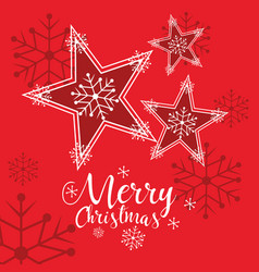 decorative stars of merry christmas vector image
