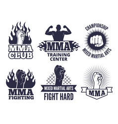 Design template of sport martial labels for mma vector