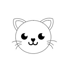 Dotted shape happy cat head cute animal vector