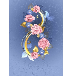 Eight of Pink Roses vector image