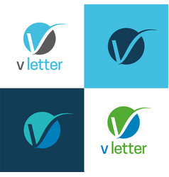 elegant v letter icon and logo vector image
