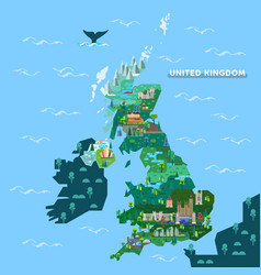 england united kingdom map with famous landmarks vector image