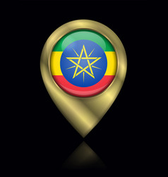 Flag ethiopia sign and icon location symbol vector