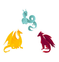 Flat colored dragon with wings horns set vector