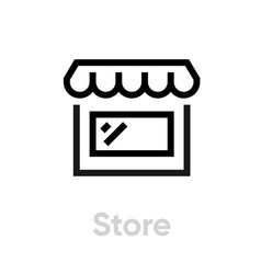 flat linear icon store isolated on white editable vector image