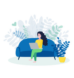 Freelance woman working online on laptop female vector