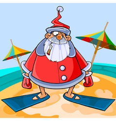 Funny cartoon Santa Claus wearing flippers vector