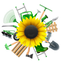 Garden equipment with sunflower vector