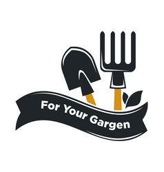 Garden shop icon of gardening tools vector