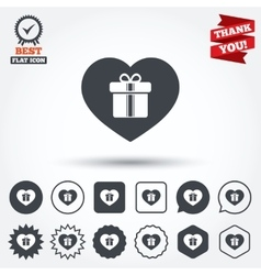 gift box sign icon love present symbol vector image