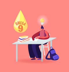 Girl student sitting at desk and studying vector