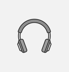 gray headphones isolated icon headphone vector image