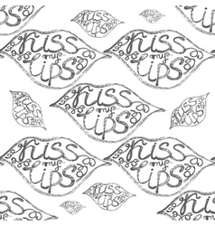 Hand drawn seamless pattern with lips vector