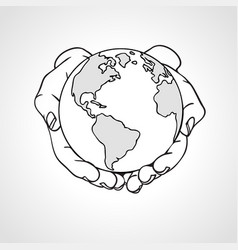 Hands holding the earth two palms hold the globe vector