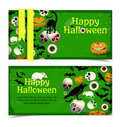 happy halloween horizontal vintage banners vector image