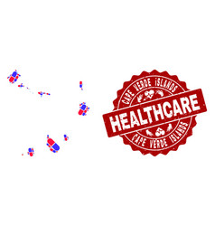 Healthcare collage of mosaic map of cape verde vector