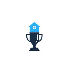 Home trophy logo icon design vector