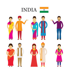 india people in traditional clothing vector image
