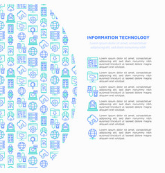 information technology concept with line icons vector image