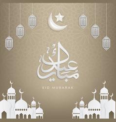 islamic design eid mubarak greeting card vector image