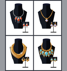 jewelry set necklaces earrings precious stones vector image