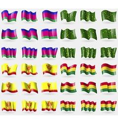 Kuban Adygea Chuvashia Bolivia Set of 36 flags of vector image