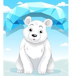 Little polar bear sitting on ice vector