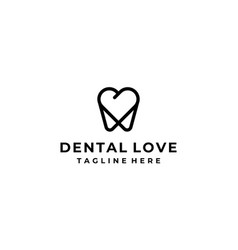 love heart dental tooth teeth logo design template vector image