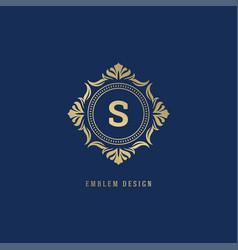 Luxury ornate logo monogram crest template design vector